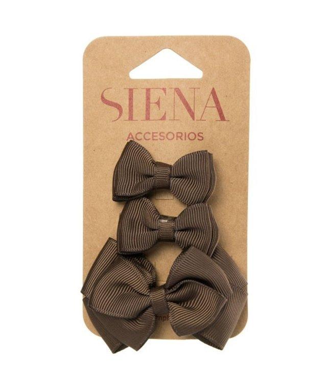 SIENA Set - 1 grote strik en 2 kleine strikjes bruin