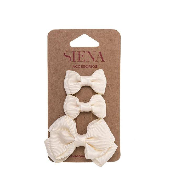 SIENA Set - 1 grote strik en 2 kleine strikjes champagne