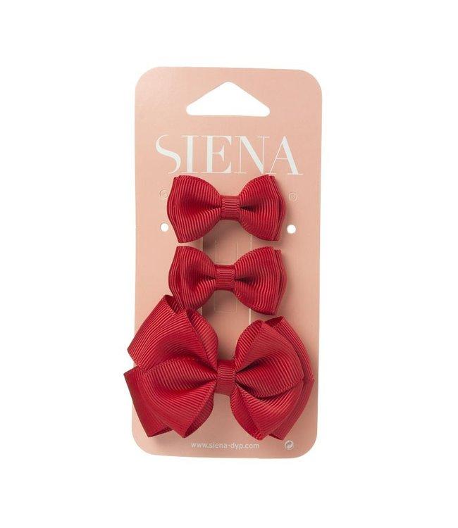 SIENA Set - 1 grote strik en 2 kleine strikjes rood