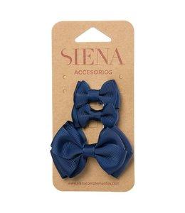 SIENA Set - 1 grote strik en 2 kleine strikjes donkerblauw