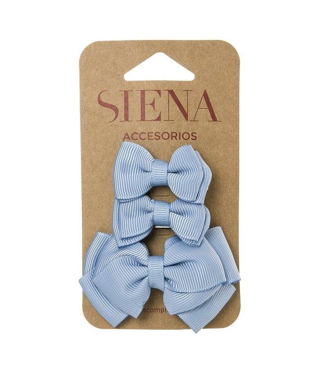 SIENA Set - 1 grote strik en 2 kleine strikjes grijsblauw