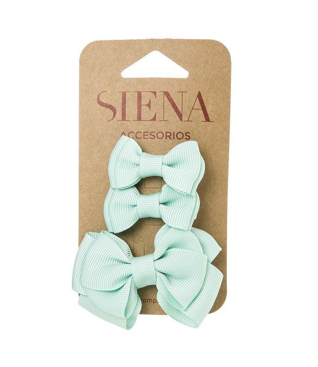 SIENA Set - 1 grote strik en 2 kleine strikjes pastel groen