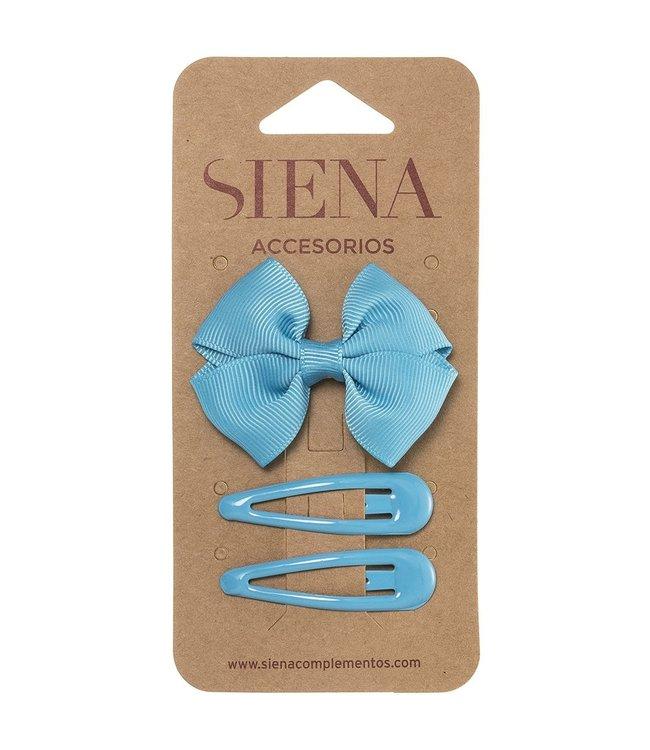 SIENA Set -  Strik met 2 speldjes creme hemelblauw