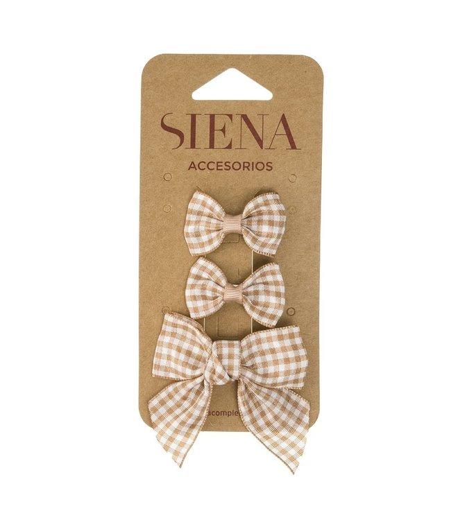 SIENA Set - Geruite 1 grote strik en 2 kleine strikjes beige