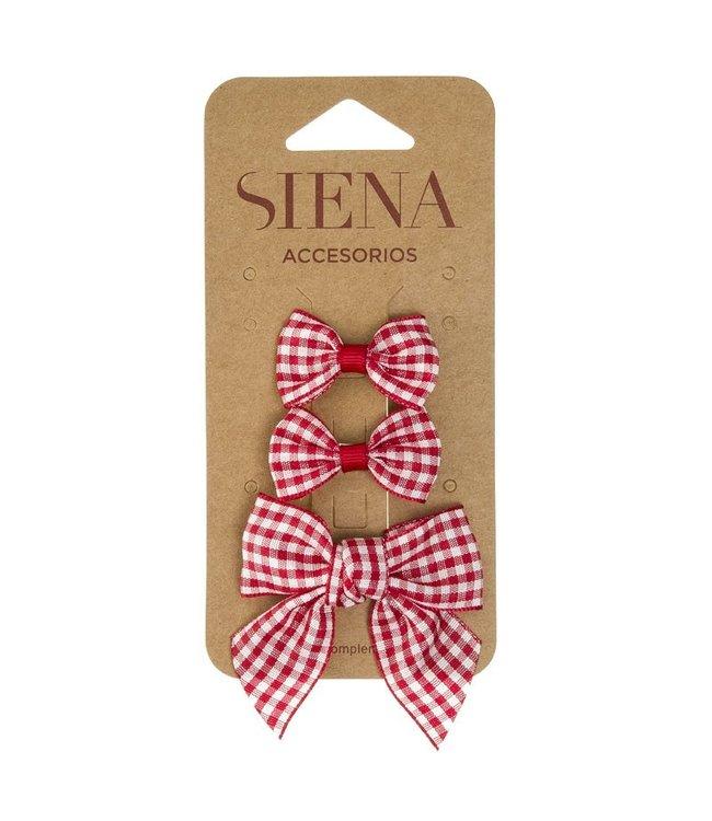 SIENA Set - Geruite 1 grote strik en 2 kleine strikjes rood
