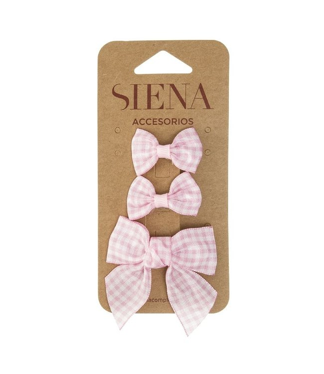 SIENA Set - Geruite 1 grote strik en 2 kleine strikjes roze