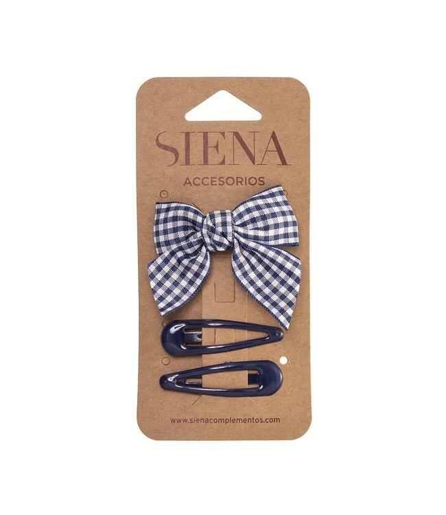 SIENA Set - Geruite strik met 2 speldjes navy