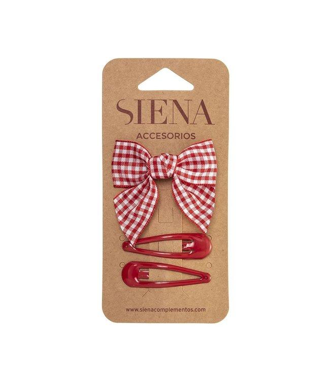 SIENA Set - Geruite strik met 2 speldjes  rood