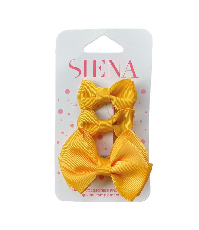 SIENA Set - 1 grote strik en 2 kleine strikjes mosterd