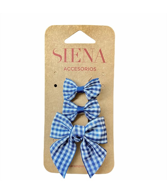 SIENA Set - Geruite 1 grote strik en 2 kleine strikjes navy