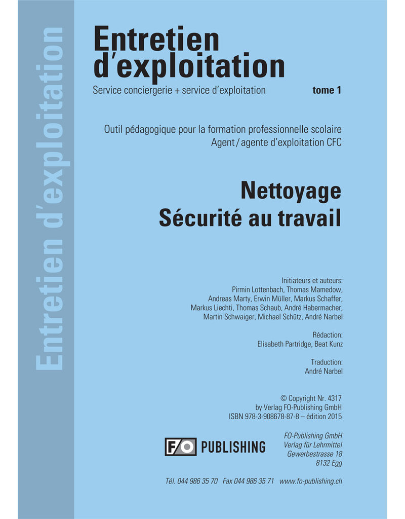 #3015 Entretien d'exploitation CFC Volume 1 - Nettoyage, Sécurité au travail