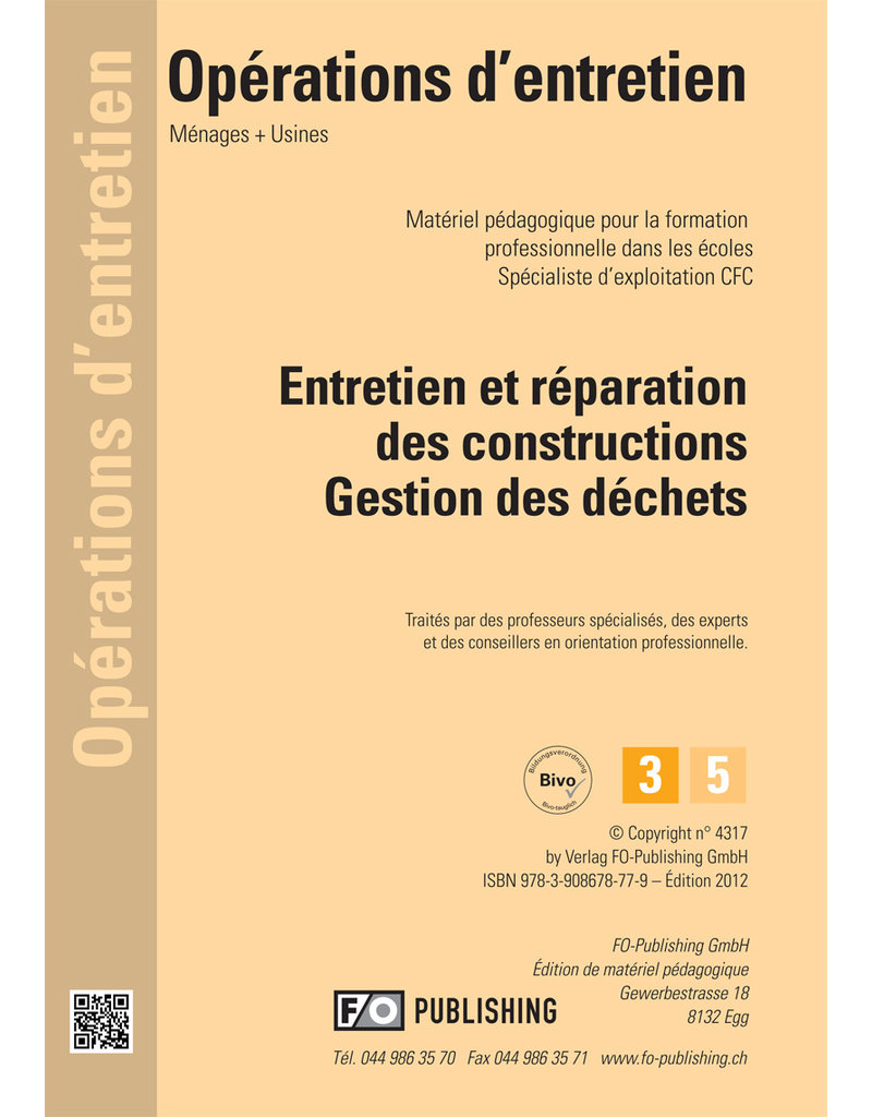 #3017 Entretien et réparation des constructions - Gestion des déchets  - AGEX  CFC Volume 3