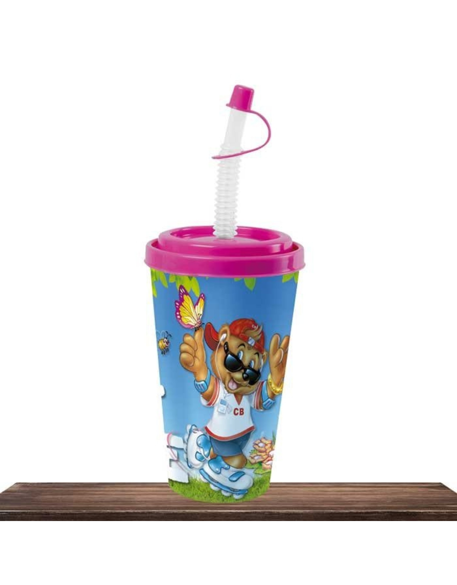 Cool Bear Cool Bear cup with straw pink