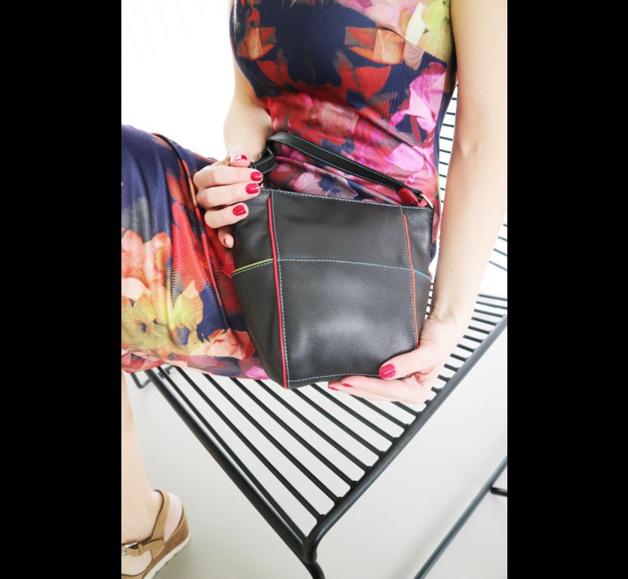 Pia Ries - Schoudertas 6015 Tropical Edge - Leer Multicolor