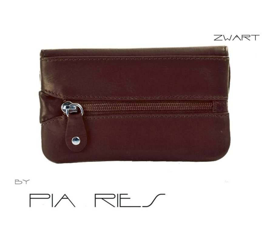 Pia Ries - Kleine portemonnee met sleutel hanger 459-1 Leer - Zwart