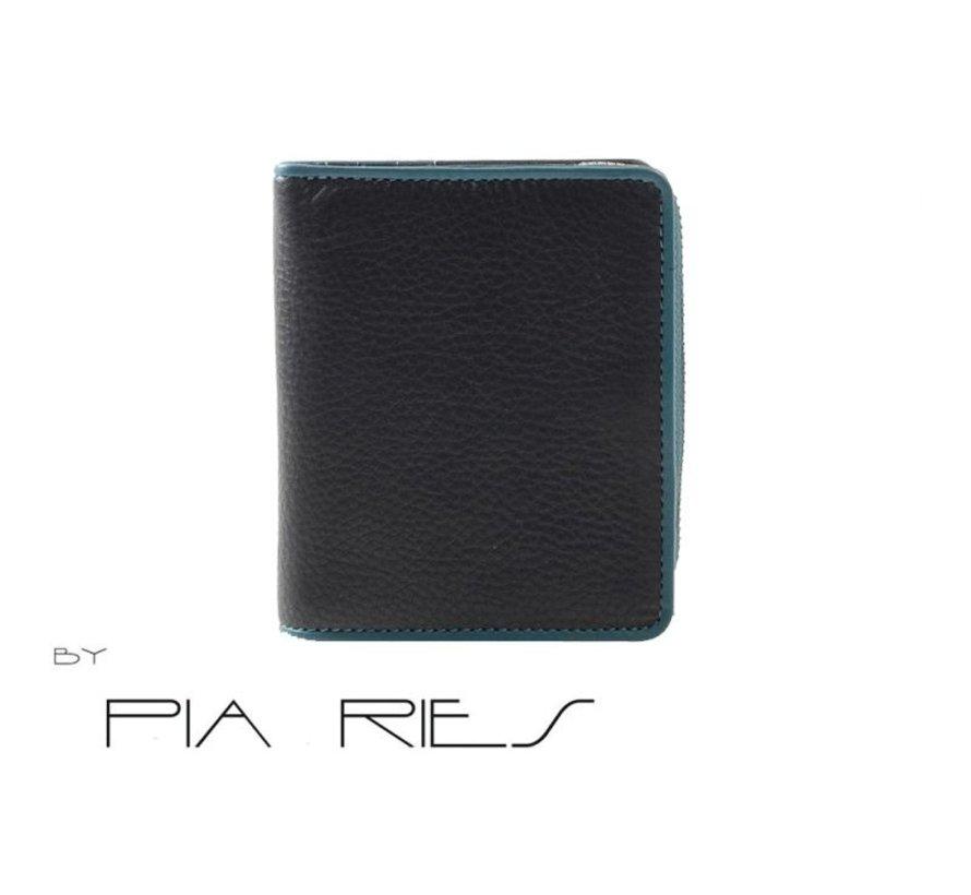 Pia Ries - Billfold 863-6 Colored Edge Leer - Petrol
