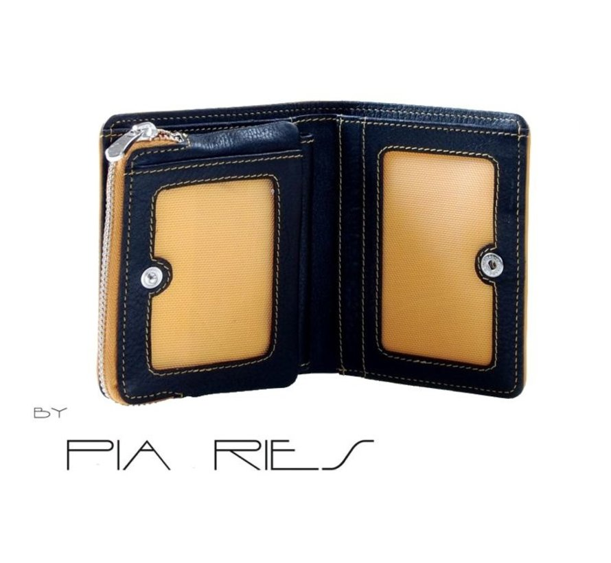 Pia Ries - Billfold 863-8 Colored Edge Leer - Geel