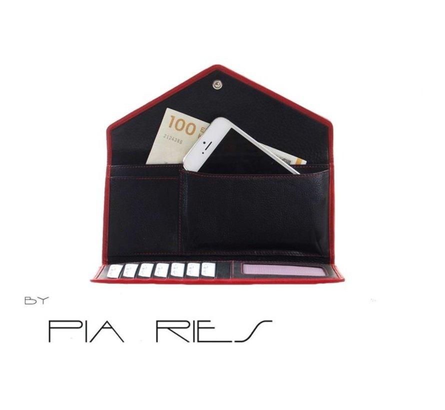 Pia Ries - Overslagportemonnee 865-5 Colored Edge Leer - Rood