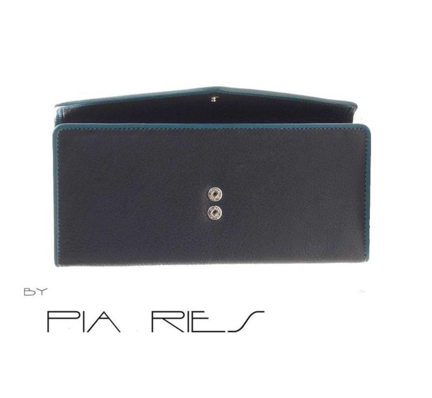 Pia Ries - Overslagportemonnee 865-6 Colored Edge Leer - Petrol