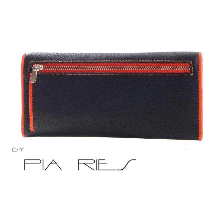 Pia Ries - Overslagportemonnee 865-7 Colored Edge Leer - Oranje