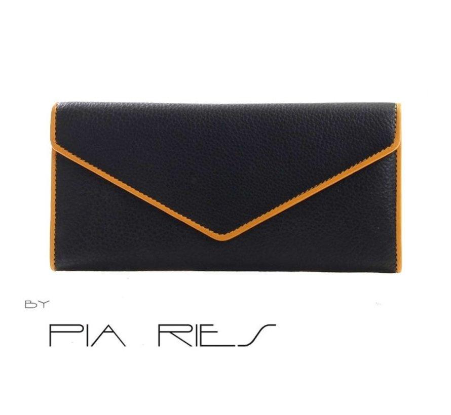Pia Ries - Overslagportemonnee 865-8 Colored Edge Leer - Geel