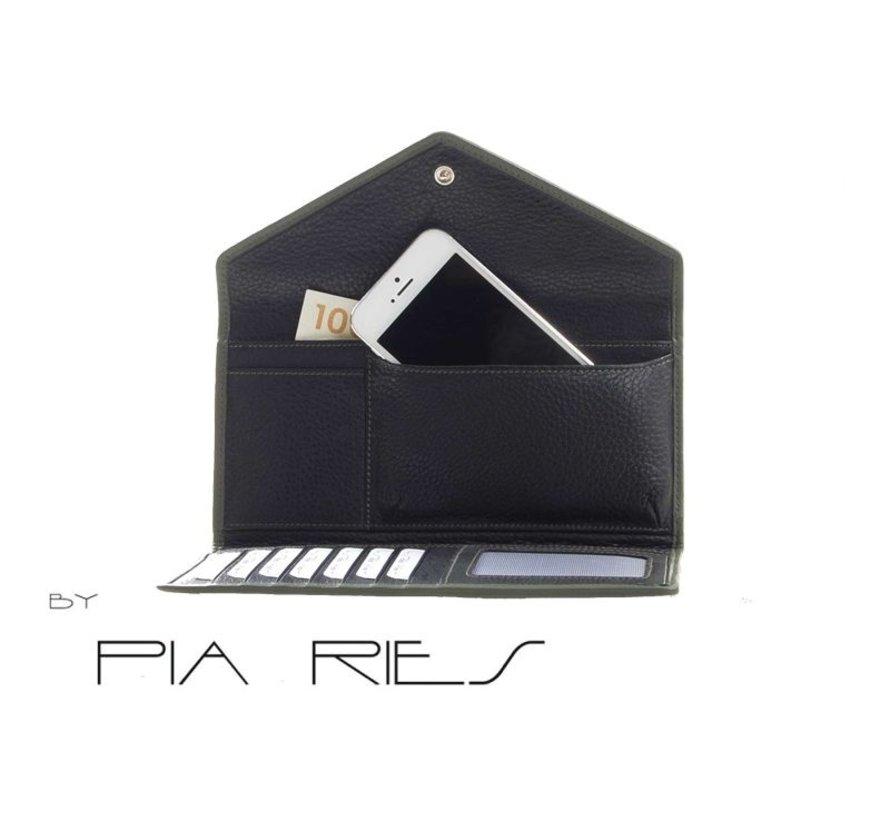 Pia Ries - Overslagportemonnee 865-9 Colored Edge Leer - Groen