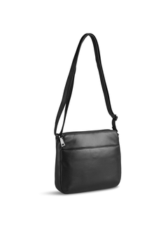 Pia Ries - Crossbody tas m. 2 grote vakken - Extra zacht leer Zwart