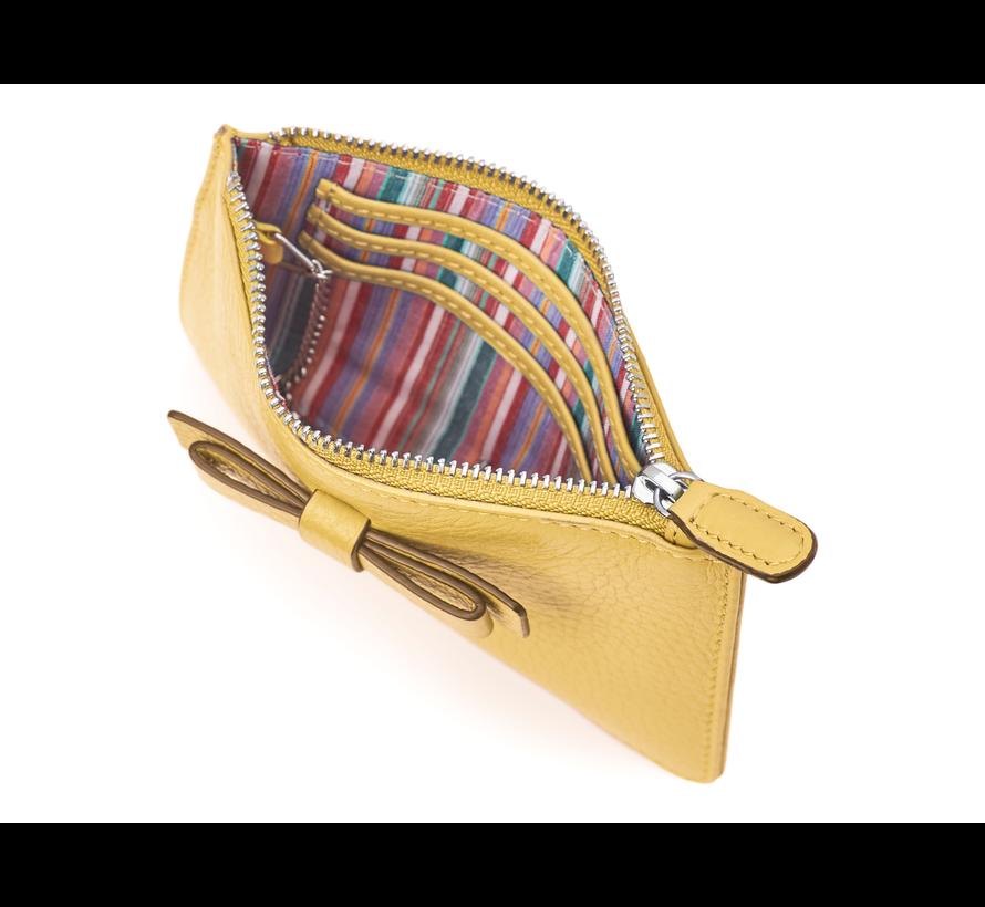 Kleine portemonnee voor munten, kaarten en een sleutel - Pastel Geel