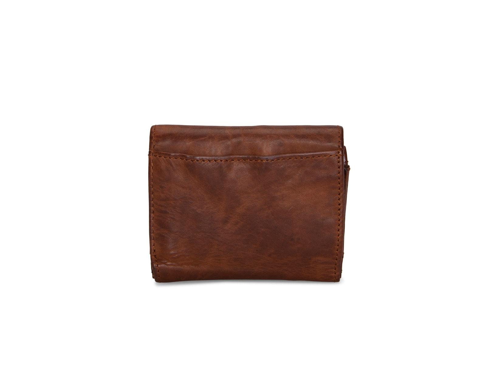 Pia Ries | Washed | Kleine  portemonnee voor munten en kaarten | Cognac