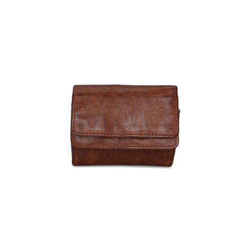 Pia Ries Pia Ries | Washed | Kleine  portemonnee voor munten en kaarten | Cognac