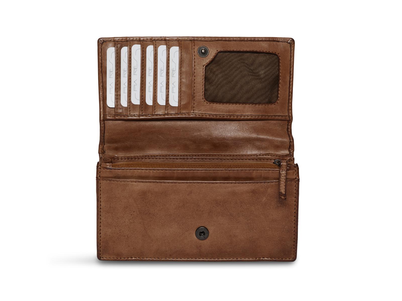 Pia Ries | Washed | Klassieke Overslagportemonnee met veel ruimte | Cognac