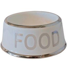 Merkloos Voerbak hond food wit/zilver