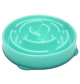 Merkloos Voerbak slo-bowl feeder drop teal lichtblauw