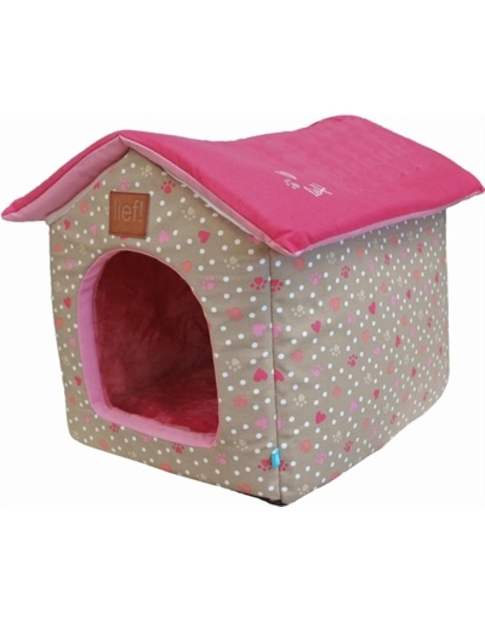 Lief! Lief! hondenmand / kattenmand huis girls beige / roze