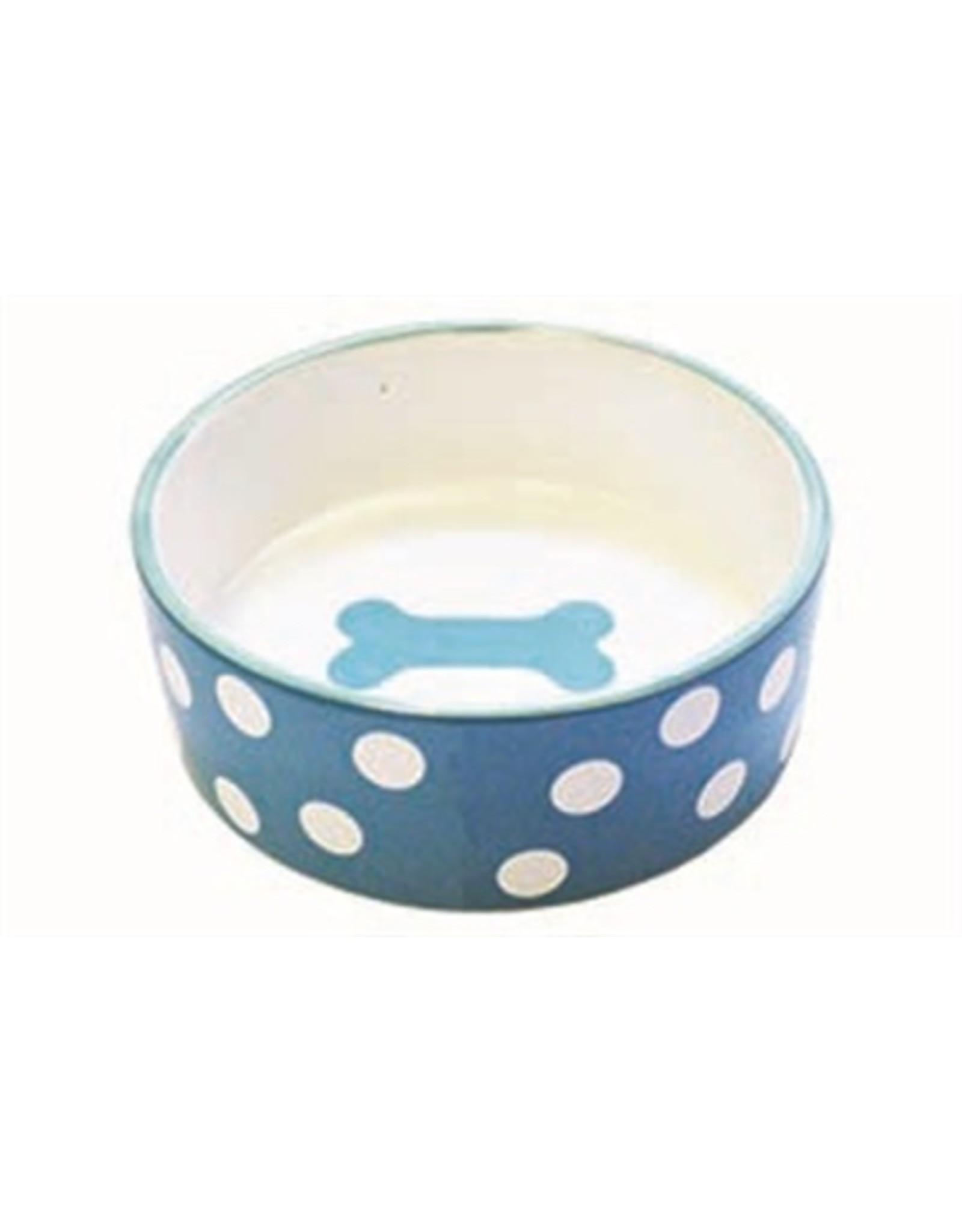 Happy pet Happy pet voerbak hond polka dot bot blauw / wit