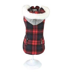 Croci Croci hondentrui sweater tartan chessboard tweezijdig rood / grijs