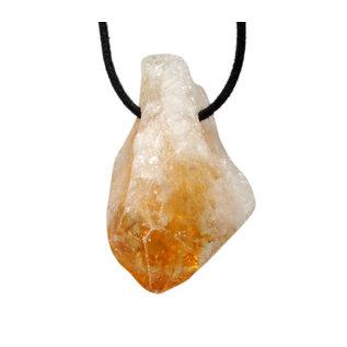 Citrienkwarts (verhit) kristal doorboorde hanger