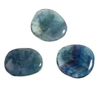 Fluoriet (groen/blauw) platte steen