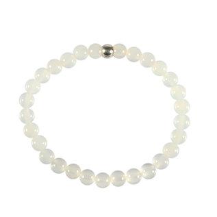 Agaat (wit) armband 18 cm | 6 mm kralen