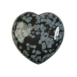 Obsidiaan (sneeuwvlok) edelsteen hart 3 cm