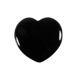 Obsidiaan (zwart) edelsteen hart 4 cm