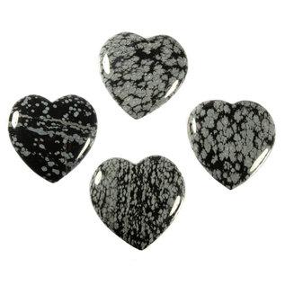 Obsidiaan (sneeuwvlok) edelsteen hart 4 cm