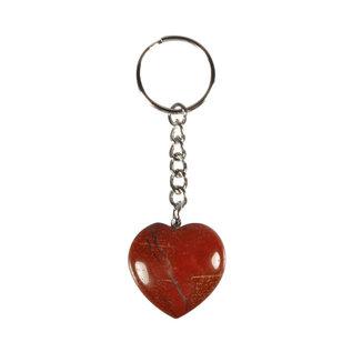 Jaspis (rood) sleutelhanger hart