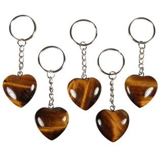 Tijgeroog sleutelhanger hart