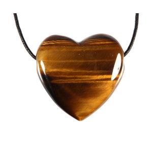 Tijgeroog hanger hart doorboord