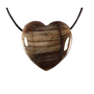 Versteend hout hanger hart doorboord