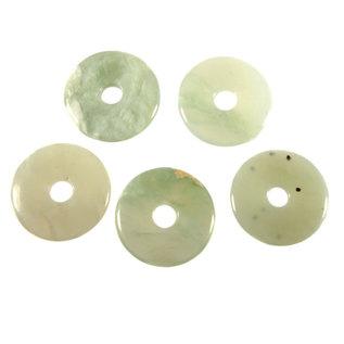 New jade (serpentijn) hanger donut 4 cm