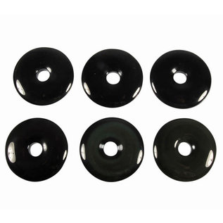 Obsidiaan (regenboog) hanger donut 4 cm