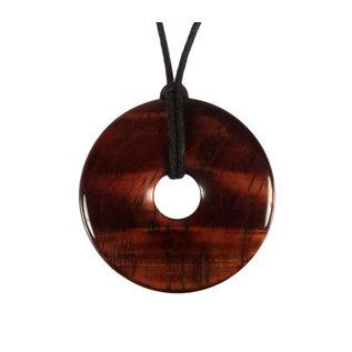 Tijgeroog (rood) hanger donut 4 cm