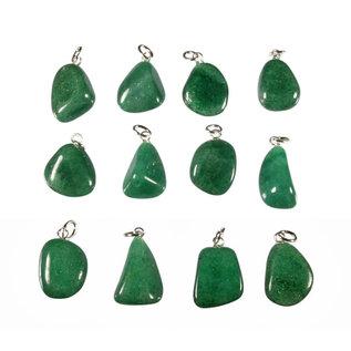Aventurijn (groen) hanger met zilveren oogje